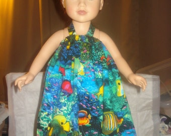 Colorful blue ocean and fish print pillowcase dress for 18 inch Dolls - ag206
