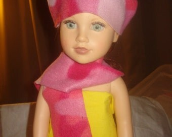 Pink camoflage Fleece hat & scarf set for 18 inch Dolls - ag218