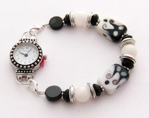 Silver and Black Beaded Watch: Women's Watch with Black and White Beaded Interchangeable Watch Band, Water Resistant