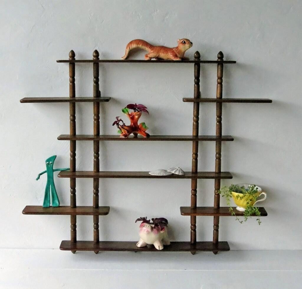 vintage wooden wall shelf hanging curio shelf with by. Black Bedroom Furniture Sets. Home Design Ideas