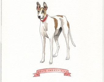 "Custom Animal Portrait Example 8x10"" Watercolor Illustration"