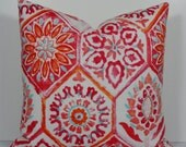 Moroccan Tile orange aqua raspberry Indoor outdoor Decorative pillow cover, Designer IKAT Throw Pillow patio pool resort florida sun room