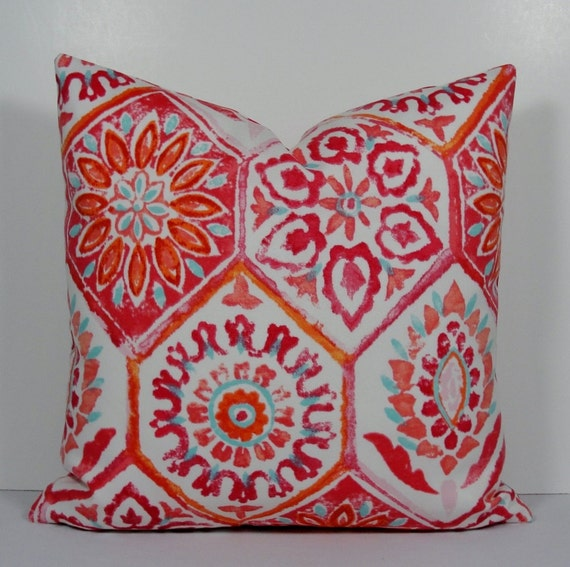 Outdoor Ikat pillow cover orange pillow aqua raspberry