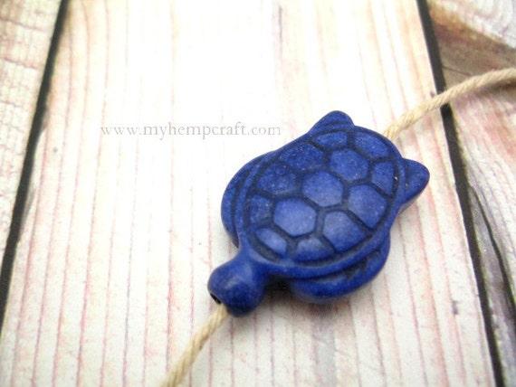 Focal Turtle Bead, Blue Dyed Howlite Sea Turtles, 1pc