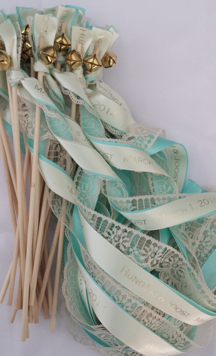 Personalized wedding ribbon wands set of 100 lace wands for Wedding wands