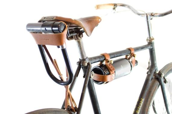 bicycle u lock holster tan leather by oopsmark on etsy. Black Bedroom Furniture Sets. Home Design Ideas