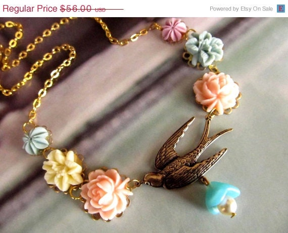 CLOSE OUT SALE Dahlia Vintage Inspired Floral Necklace,Resin Flowers,Pastel colors, Feminine Pretty.