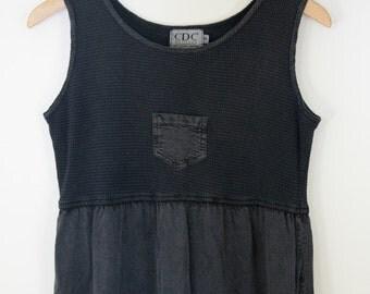 1990s Vintage Washed Black Baby Doll Waffle Knit Midi Dress (S)