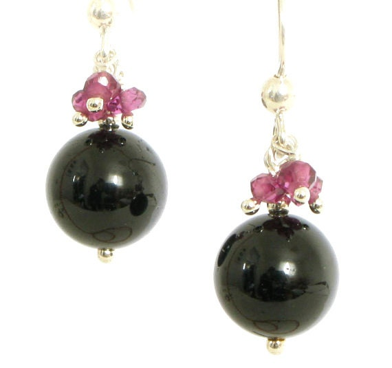 Black Tourmaline Earrings with Garnets in Sterling Silver - Black and Pink Earrings - Black Dangle Earrings - Handmade Tourmaline Earrings