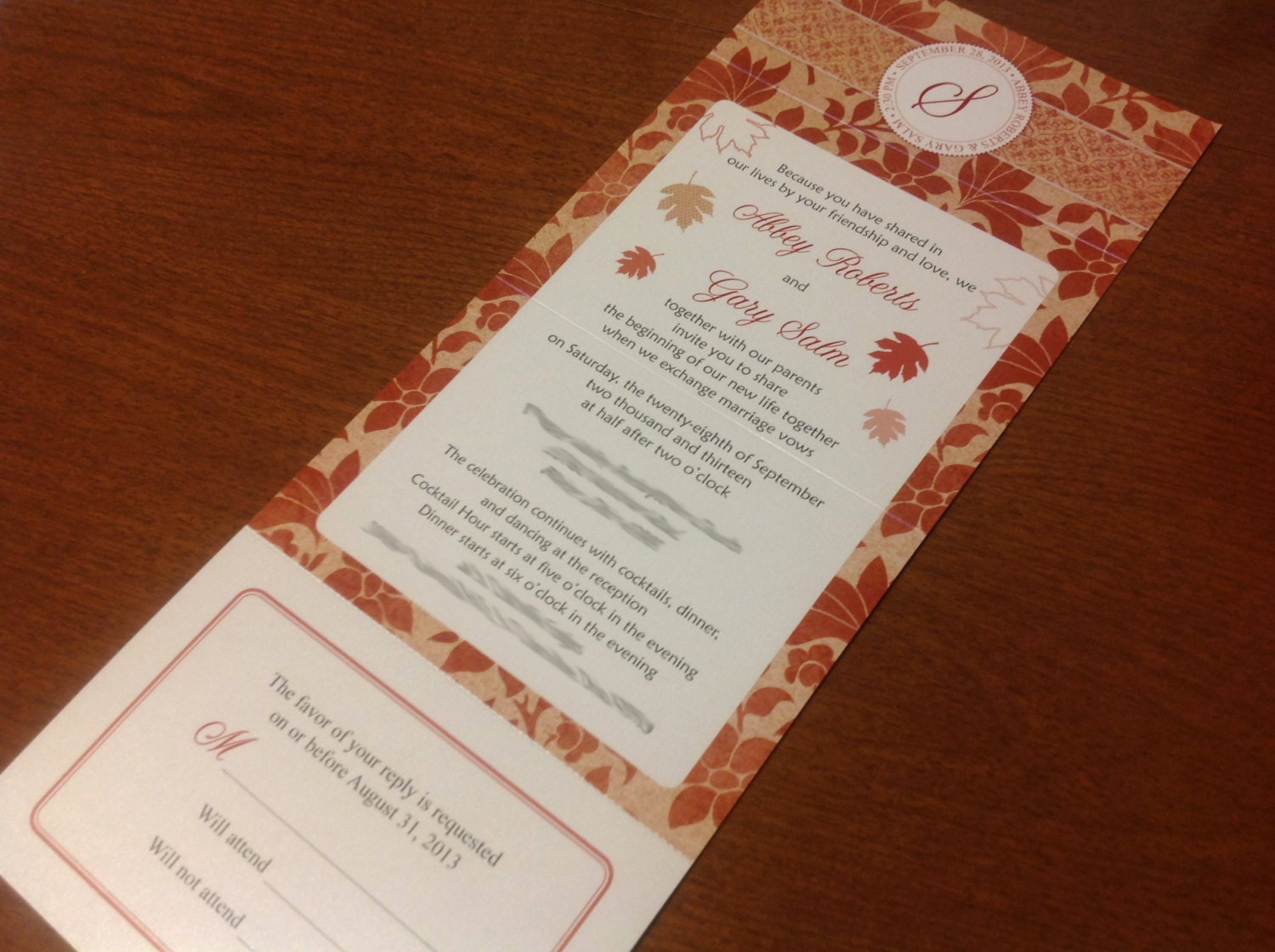 Wedding invitations with attached rsvp seal by for How to send wedding invitations with rsvp