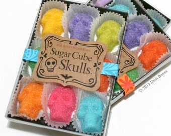SUGAR SKULLS Day of the Dead - Sugar Cube Skulls  - Sugar Skulls Dia De Los Muertos Colors - box of nine skulls