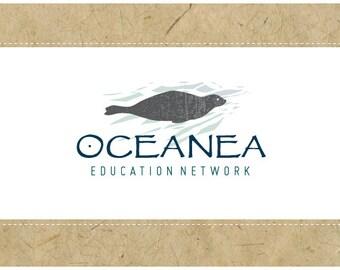 Custom PreMade Logo Design - PreDesigned Logo - Custom Vector Logo - OOAK OCEANEA Logo Design - Seal Logo - Sea Animal Logo - Ocean Logo