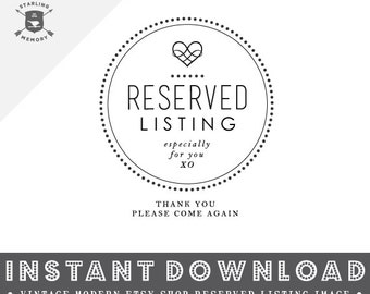 INSTANT DOWNLOAD - Vintage Modern Etsy Shop Reserved Listing Image - Ready To Use