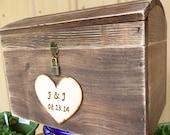 Large Rustic Barnwood Style Wedding Card Box Treasure Chest