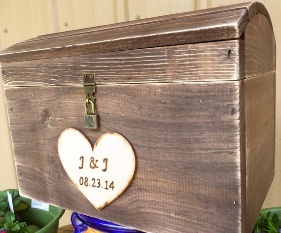 Large Rustic Barnwood Style Wedding Card Box Treasure Chest