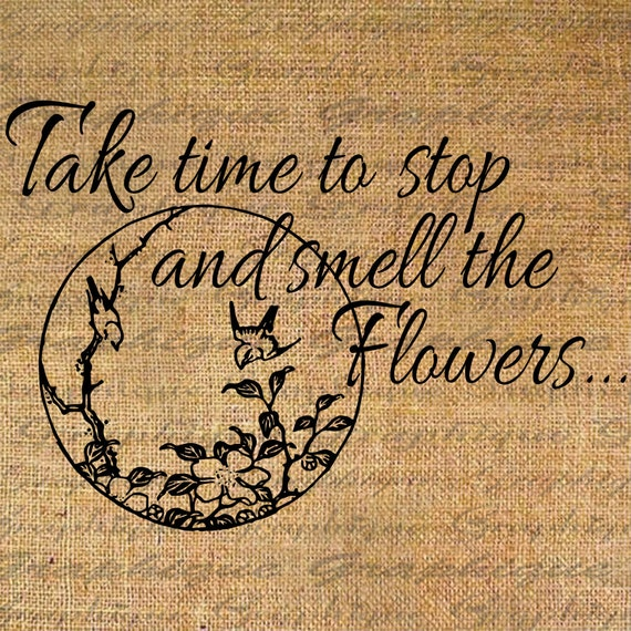 Take Time To Smell The Roses Quote: Items Similar To T Shirt Fabric Transfer Wall Art Burlap