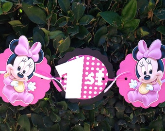 Baby Minnie Mouse Birthday Party Banner - Pink/White Polka Dots