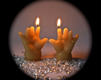 Organic Beeswax Pair of Hands Candles for Birthday or Decor