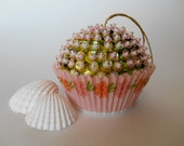 SALE Pink and Green Tropical Sequin Bead Cupcake Ornament