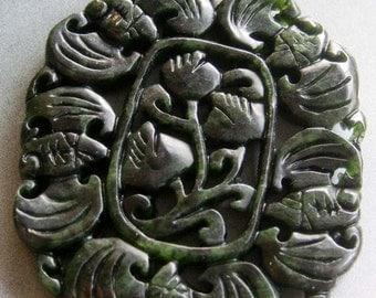 Natural Stone Five Fortune Bats Flower Amulet Pendant 53mm x 45mm  T1708