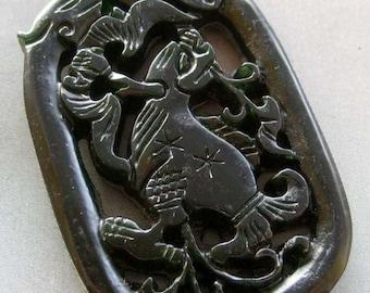 Natural Stone Dragon Bat Amulet Pendant 53mm x 35mm  T1762