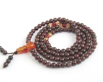 4mm Fashion Style 120 Garnet Stone Prayer Beads Tibet Buddhist Meditation Yoga Mala  ZZ262