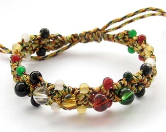 Beautiful Adjustable Colorful Gem Stone Beads And Silk Cord Thick Wide Bracelet--150mm In Length  T3100