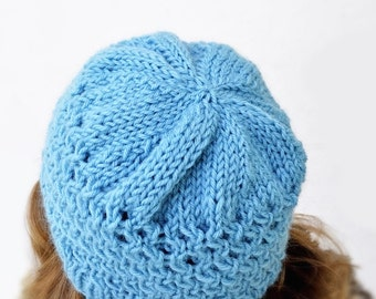 Turquiose Honeycomb Knit Hat