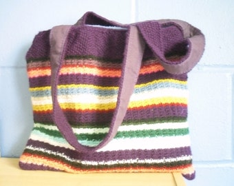 Hand Knitted Tote Bag, Multi Coloured Bright Handbag FREE UK SHIPPING
