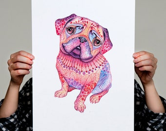 "Pug dog, mops, high quality art print, hot pink ""Pugberry"", size A3"