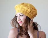 Mustard Knit Hat for women, Mustard knit beret, Mustard knit tam, Mustard women hat, Mustard wool hat, Yellow beret, Yellow knit hat,