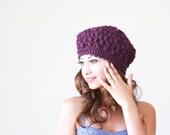 Purple crochet hat womens, Purple crochet beanie women, Purple winter hat, Purple wool hat, Women purple beanie, Purple beret, Chunky hat