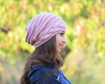 Rose pink Slouch hat, Slouch knit hat for women, Slouchy Beanie Hat, Oversize hat, Slouch knit beanie women, Grunge Hat, women Grunge beanie