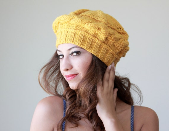 Mustard Knit Hat for women, Mustard knit beret, Mustard knit tam, Mustard women hat, Mustard wool hat, Yellow beret, Yellow knit hat,
