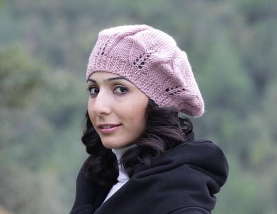 Dusty Rose Women slouchy beanie, Rose knit hat, Rose slouch hat, Knit rose hat, Slouchy knit beanie, Women rose hat, Rose womens beanie,