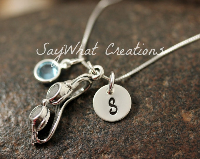 Hand Stamped Mini Initial Sterling Silver Swimming Goggles Swimmers Charm Necklace