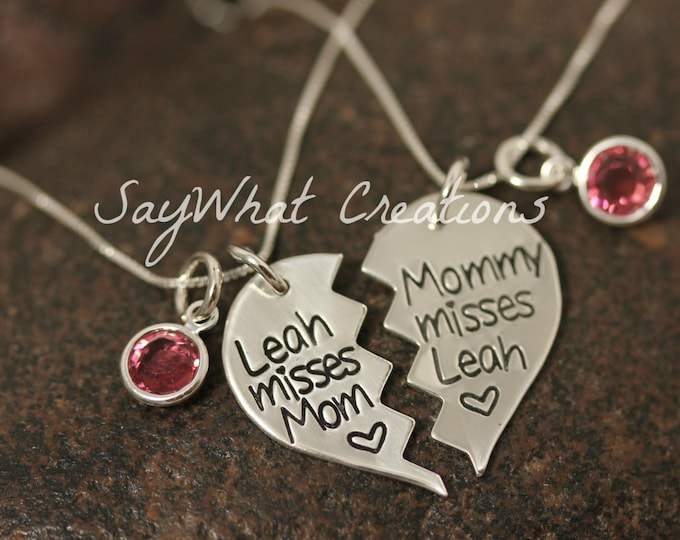 Set of Two Broken Hearts Necklaces Perfect for Mothers and Daughters, Best Friends, Military Families, Mommy Misses You