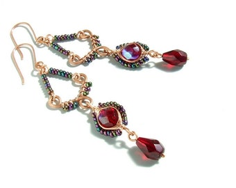 Red chandelier earrings, oriental copper jewelry, romantic unique gift for her