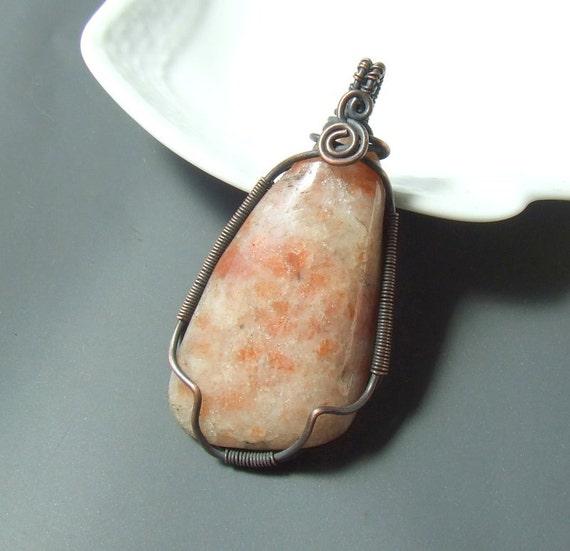 Sun stone copper pendant, autumn colored natural stone jewelry