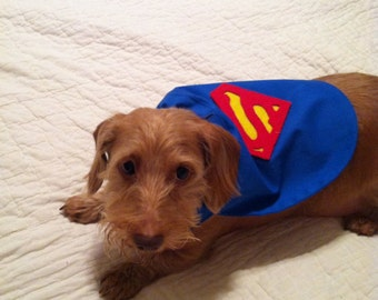Small Dog Superman / Superhero Cape slides right over the Collar Small, Medium and Large Sizes