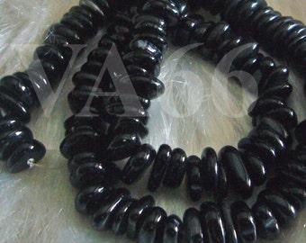 DIY 16 Inches Black Onyx Gemstone Round Disc Wheel Shape Large Size 9mm - 12mm Genuine Gemstones Gems Loose Beads Jewelry Making