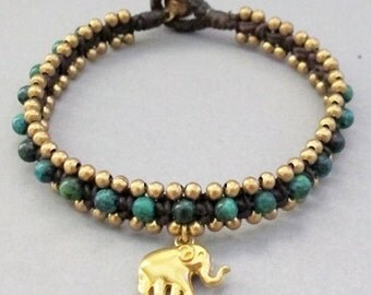 Square Knot Bracelet with Chrysocolla and Elephant Pendant