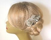 Birdcage Veil and a Hair Comb -(2 Items) - Bridal Headpiece,Rhinestone Bridal Comb, Weddings,Blusher Bird Cage Veil