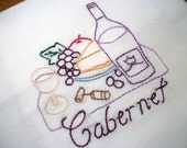 Dish Towel Wine Country Design Flour Sack Towel Cabernet Hand Embroidered Dish Towel
