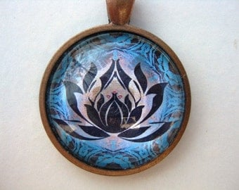 Yoga Necklace:  Lotus on Mandala Necklace (015)
