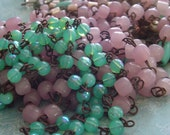 Milky Sea GreeN Opaline AB Luster glass Beaded Rosary Chain Aged Dark Ox Patina wire links