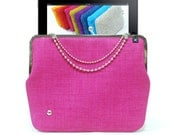 iPad case PINK gold/nickel clasp & chains, tablet case, evening clutch - Duchess Case collection