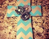 Grey chevron cross with flowers- choose color!