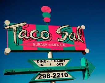 Taco Sal Vintage Neon Sign - Breaking Bad Location - Albuquerque New Mexico - Reto Kitchen Decor - Fine Art Photography