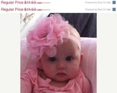 Boutique Baby Girls Pink Shabby Frayed Chiffon and Lace Rhinestone Center Flower on Pink Elastic Headband..Perfect for babie